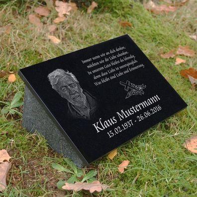 Stütze Wunsch Gravur Motiv Engel g12s Sternenkind Grabstein Granit 40x30 cm