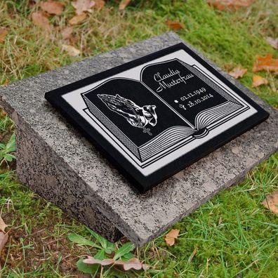 Grabstein-g49 Grab Grabplatte Grabtafel GRANIT Foto Wunsch Gravur 50x30 cm