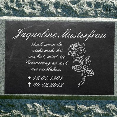 GRAVUR @ 35 x 25 cm Grabstein Schiefer Platte Grab Tafel Engel-001 @ WUNSCH