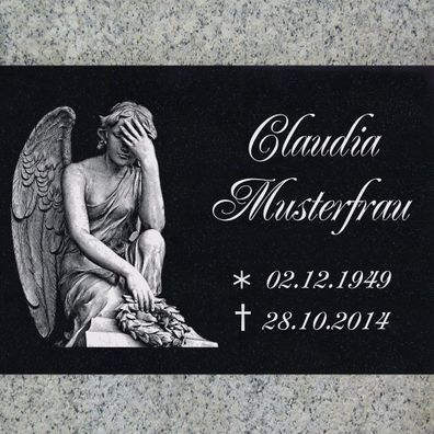Granit STÜTZE Gravur Inschrift+Motiv Engel-g11s Grabstein Grabplatte 60x40 cm