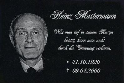 Granit Grabplatte Grabtafel Grabschmuck 25x20x3 Foto+Text Gravur Grabstein-gg11s
