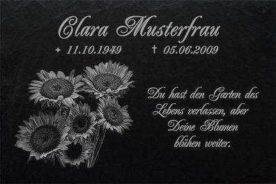 GRABPLATTE Grabmal Grabschmuck Rosen Grabstein-031 ►Wunsch-Textgravur◄40 x 25 cm