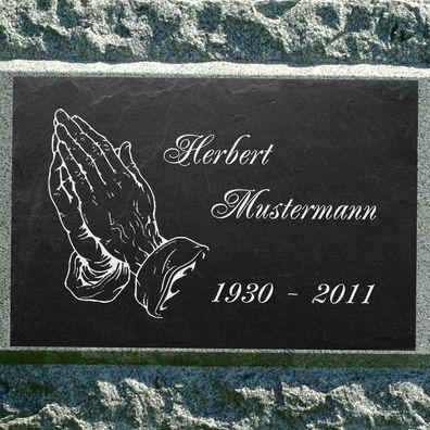 Granit Liegestein Grabplatte Grabtafel 60x40x4cm Foto+Text Gravur Grabstein-gg50