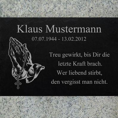Grabstein Grabplatte Grabmal 50x30 cm Stein Gravur Inschrift Motiv Engel-11