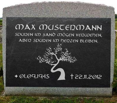 Grabstein Schiefer Stein Grab Tafel mit Rose-002 @ MIT IHREM TEXT @ 35 x 25 cm