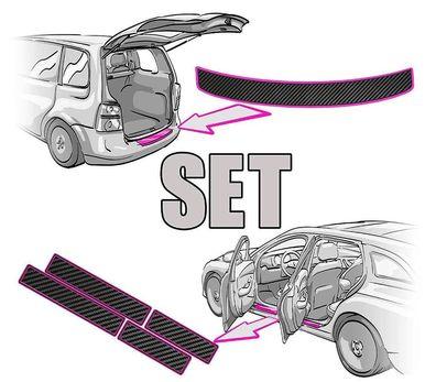 Mokka Einstiegsleisten Set Lackschutzfolie von CCW/© in 3D Carbon Silber