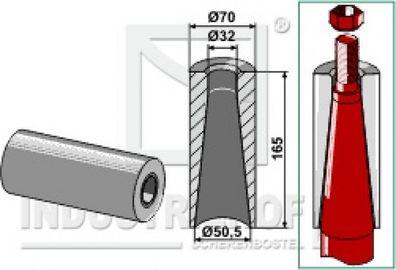 18100-34  Einschweißbuchse für Zinken mit Gewinde M20  Länge 100 mm