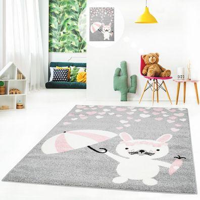 Kinderteppich Teppich Kinderzimmerteppich Spielteppich Flachflor mit Hase,  Herzen