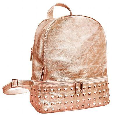 Italienische Damen Glitzer Rucksack Tasche mit Nieten Ledertasche Glitzerleder zart R