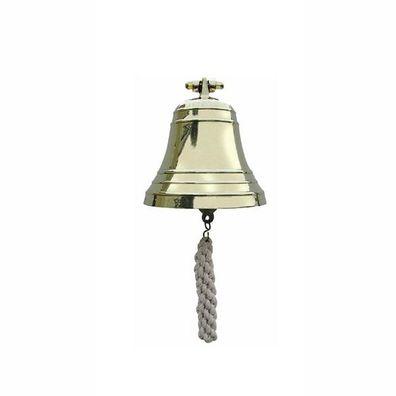Messing Ø 7,5 cm Schiffsglocke mit Wandhalter und Bändsel G4437 Wand Glocke