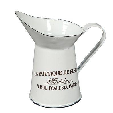 Küchenkanne Tupfen Rot Weiß Emaille Sahnekännchen ohne Deckel Milch Kännchen