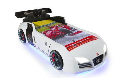 Autobett Kinder Bett Turbo V8 Sport Weiß Mit Innenpolsterung Sound Licht Funk Rost