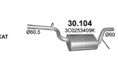 Endschalldämpfer Endtopf Auspuff A-Klasse W168 A140 A160 A190 60//75//92 KW