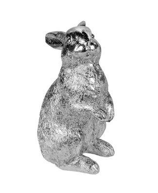 Steinfigur Hase anthrazit liegend Garten Deko