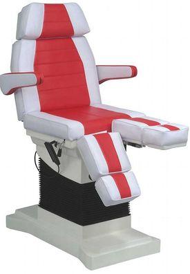 1444 Luxus Fußpflegestuhl elektrisch weiß rot 3 Motoren