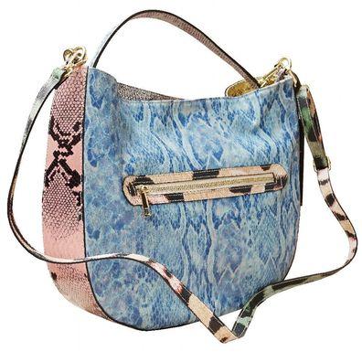 Handtasche Schultertasche Leder Tasche Patchwork Python Optik Schwarz Blau Bunt Marco