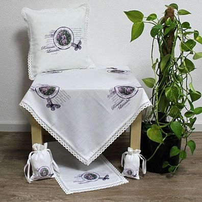 Stiefmütterchen Tischdecke Tischläufer Kissenhülle Spitze FRÜHLING Landhaus Weiß