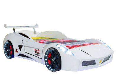 Autobett Turbo V7 Weiß Funk Full Led Licht Sound Kinderbett 90x190 Bettauto