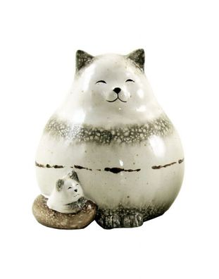 Dekofigur Katze Holz//Alu Katzen Kater Tierfiguren Landhausstil Tischdeko