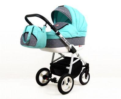 3in1 Alu Kinderwagen Kombi Kinderwagen Wanne Buggy Autositz Casiloo® Grün Mint