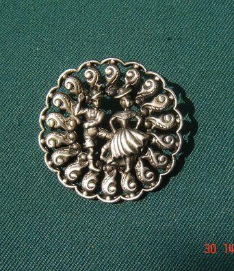 Miedernadel Dirndlnadel mit 3 Kettchen 15,5cm Kugel filigran hell versilbert