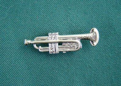 Anstecker Hutanstecker Trompete aus massiv Silber Blasmusik Musikverein