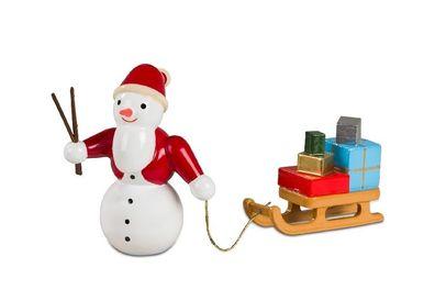 Schneemann Bäcker mit Brötchenkorb NEU Erzgebirge Volkskunst Winter Schnee Figur