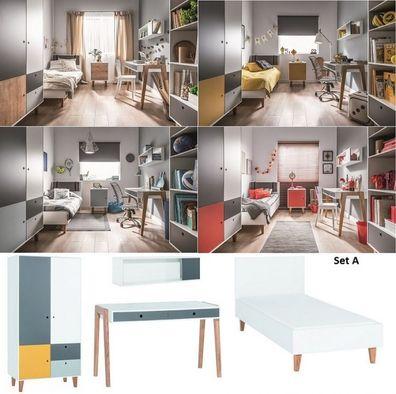 Jugendzimmer Kinderzimmer komplett COLIN Set A Schrank Schreibtisch Bett  90-120 x 200