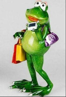 768841 Frosch Rudi Shopping Tour mit lustiger Deko aus glänzendem Kunststein