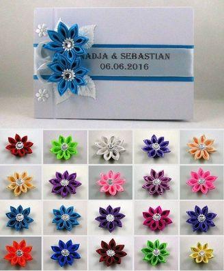 Box für Eheringe SET Ringkissen mit Name und Datum 20 Farben Gästebuch
