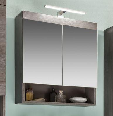 Spiegelschrank Runner 2-türig Bad Spiegel mit Ablage 60 cm grau Sardegna