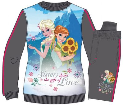 Disney Frozen Eiskönigin Elsa /& Anna Jogginganzug Trainingsanzug Grau