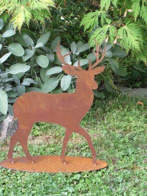 Edelrost Reh stehend 30cm Jäger Rentier Weihnachtsdeko Rost Wildtiere Gartendeko