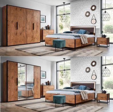 Schlafzimmer komplett LOTOS Set A Schrank 4T Bett 160/180x200, 2  Nachttische, Kommode