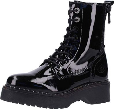 Dockers by Gerli Damen 45AT202 Stiefel Combat Boots Leder Schwarz Lack