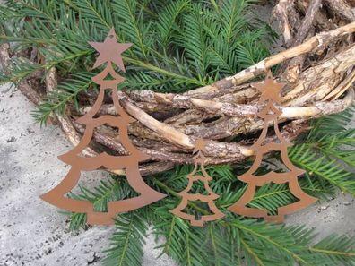 Edelrost Christbaumschmuck Flocke 3 Metall Weihnachtsdeko Weihnachtsbaumschmuck