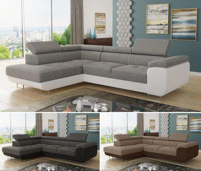 Ecksofa Caris Mit Schlaffunktion Sofa Wohnlandschaft Couch Einstellbare Kopfstützen