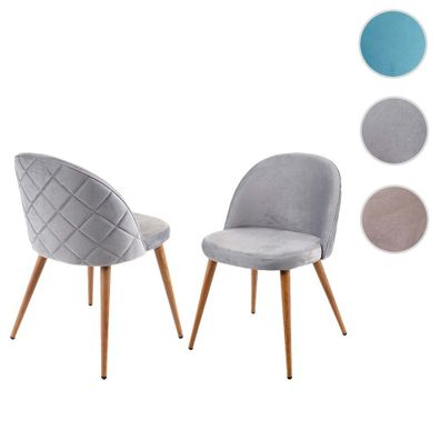 2x Esszimmerstuhl HWC D53, Stuhl Küchenstuhl, Retro 50er Jahre Design, Samt