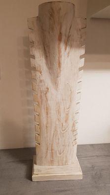 natur Schmuckständer,Massivholz Kettenhalter 3 Schmuckbüsten 30 cm