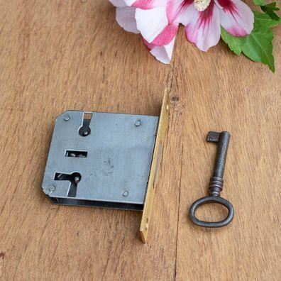Möbelschloss mit Messingstulpe Dorn 55 R//L Einsteckschloss mit Eisenschlüssel