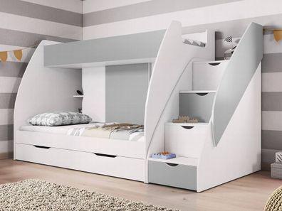 Hochbett Martin Modern Kinderzimmer Doppel Stockbett Etagenbett mit  Bettkasten