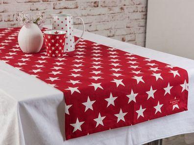 Krasilnikoff Tischläufer PUNKTE Rot weiß 35x120 Baumwolle Tischdecke gepunktet