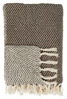 Bloomingville Decke braun creme weiß Streifen Baumwolle Plaid Wolldecke Throw