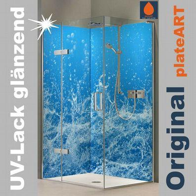 blaue Wasserwand Motiv Eck Duschrückwand Rückwand Dusche Alu Fliesenersatz
