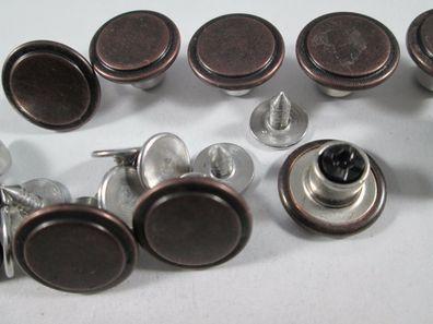 Jeans Knopf 10 stück mit Niete  schwarz braun         knöpfe 18 mm #565#