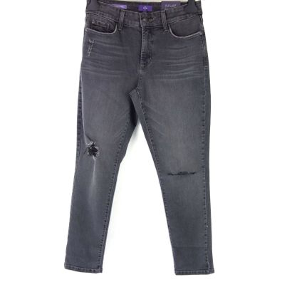 NYDJ Damen Jeans Hose Clarissa ANKLE Cut 36 Grau Distressed Straight NP 149 Neu