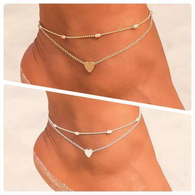Damen Fußkette Fußkettchen Strand Schmuck Silber Gold Geschenkbeutel