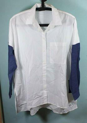 Damen Hemdbluse von Zara Basic Größe S weiß mit Jeansarmen