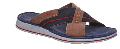 Rohde Brunello Herren Pantoletten Hausschuhe Sandalen 5989 Ocean Blau Braun