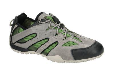 Geox Respira U Snake J U4207J Herren Sneakers Halbschuhe Low Top Grey Dk Green exVLd
